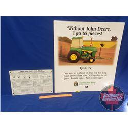 "John Deere Press Grain Drills Tin Sign (15""W x 10""H) & John Deere (Double Sided) Ad Poster 96-12 (24"