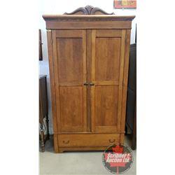 "Large Wardrobe w/Bottom Drawer (84-1/2""H x 46""W x 19""D) (Note: 1 Pc of Trim Missing)"
