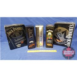 Jack Daniels Collector Tins (5) with Jack Daniels Drink Tumblers (3)