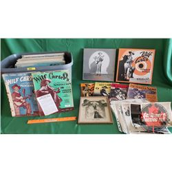 Tote Lot: Wilf Carter Collection of Music Books (7), Photographs, CD Box Sets (2); & Record Albums (