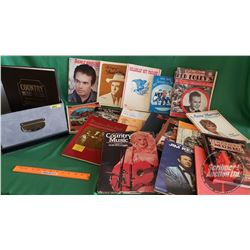 Box Lot: Music & Song Books & Hardcover Country Music Books (18)