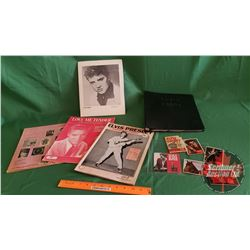 Tray Lot: Elvis Presley Collector Cards, Music Books, Promotional Photo