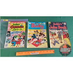 """VARIETY VINTAGE COMICS (3) : Archie's Joke Book """"Never Satisfied"""" #77 c.1964 ; Binky """"Leave it to Bi"""