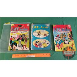 LIFE WITH ARCHIE - COMICS (3) : Riverdale Winter Carnival #26 C.1964 ; Root of All Evil #75 c.1968 ;