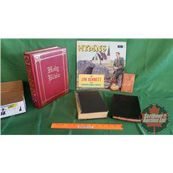 Tray Lot: Hymns LP, 2 Bibles & Hymn Book (Mini Gospel of John Book 1940)