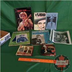 Tray Lot: Ernest Tubb Collection (Biography, Photograph, Autographs, CD's, Music Books, etc) (See Pi