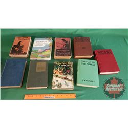 Tray Lot: Old Hardcover Books by Zane Grey (9) (See Pics for Titles)