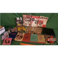 Box Lot: Gene Autry Collection (Books, Comic Books, Music Books, Collector Cards, CD's & Cassette Ta