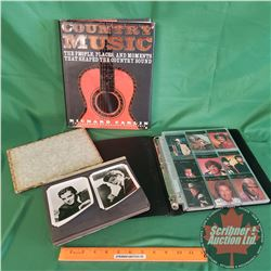 Tray Lot: Hollywood Movie Star Photographs, Country Music Collector Cards & Country Music Hardcover