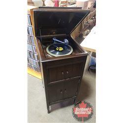 "Columbia Grafonola Cabinet (41""H x 18-1/2""W x 20-1/2""D) w/Records & Index of Victor Records Book"