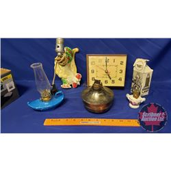 """Collector Combo: Rooster Wall Lamp (no shade), Mini Oil Lamp, Westlock Electric Clock (7""""x6""""), Oil L"""
