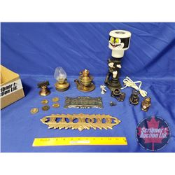 Collector Combo: Charlie Chaplin Streetlight Lamp, Furnace Plaques, Collector Coins, Trinkets, etc (