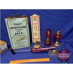 Collector Combo: Rawleigh's Tin, Hudson Sprayer, Mini Oil Lamps, etc