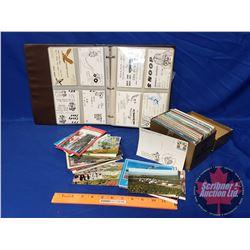 QSL Radio Calling Cards (36) in Binder w/Sleeves & Vintage Postcards (350 in Box)