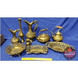Tray Lot - Variety Brass (Pitcher, Bowls, Compacts, etc)