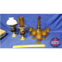 Amber Decanter Set and Lamps with One Milk Glass Shade