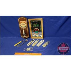 Bar Collectibles (Molson Canadian Wood Plaque Bottle Opener + Other Openers + Framed Red Cap Ale Mir