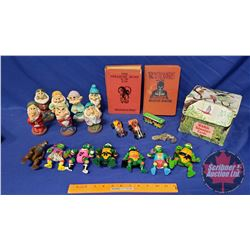 Tray Lot: Animal Wildlife Adventure Cards in Box, 2 Books, Tin Toy Train, Seven Dwarfs Bath Toys, Te