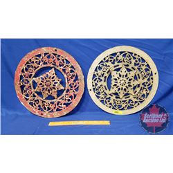 """Cast Iron Round Furnace Plates 15"""" (Red / Tan)"""