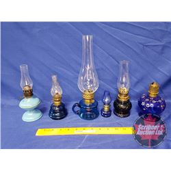 Tray Lot: Coal Oil Lamp - Blue Theme Collection (6) - Variety (See Pics)