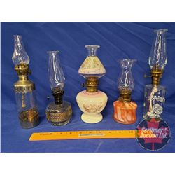Basket Lot: Coal Oil Lamp - Small Sizes Collection (5) - Variety (See Pics)