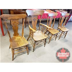 Oak Pressback Dining Chairs (4) (Note: 1 is Armchair)