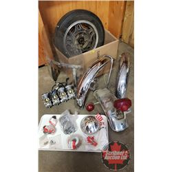 "Box Lot: Motorcycle Parts (3 Fenders, Tire & Rim 16"", Mikuni Carbs (Bank of 4), Honda Parts Variety)"