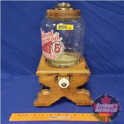 "The Great American Nut Machine 5¢ (Wood / Glass) Nut Dispenser (13""H)"