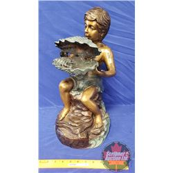 Bronze Fountain Boy w/Clam Shell Sculpture