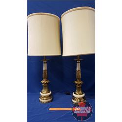 "2 Stiffel Elec. Table Lamps w/Shades (38""H total w/Shade)"