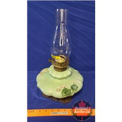 "Coal Oil Lamp: Painted Font Green/Floral - Cast Base ""Eagle"" (14""H Total Height w/Chimney)"