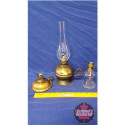 "Coal Oil Lamp - Trio: Brass Finger Lamp (13""H Total Height w/Chimney) + 2 Minis"