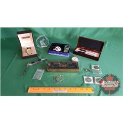 Gentleman's Collector Lot: Birks Wrist Watch, Tokens, Olympic Pin, Pocket Knife, Crystal Rabbit, Poc