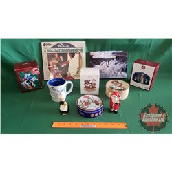 Tray Lot: Christmas Theme - CD Set, Ornaments (Norman Rockwell, Lone Ranger)
