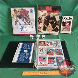 Tray Lot: Hockey Theme (2 Hardcover Books, 1 Gordie Howe Paperback Book, 3 Mini Mugs, Hockey Card Co