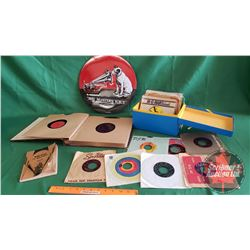 "Tray Lot - Record Theme : Repro Sign ""His Masters Voice"" ; Victor Records Price Guide 1930, Record A"