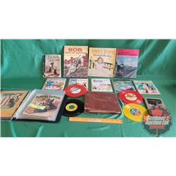 "Tray Lot: Children's Story Books & Records & Bedtime Stories + Shirley Temple ""Through the Day Book"""