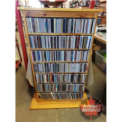 "CD Collection (Country Western Music) (427+) with Custom Built Wooden CD Storage Tower (48-1/2""H x 2"