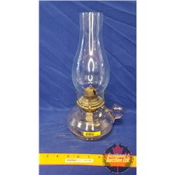 "Coal Oil Lamp: Finger Lamp ""White Flame"" Made in USA (12""H Total Height w/Chimney)"