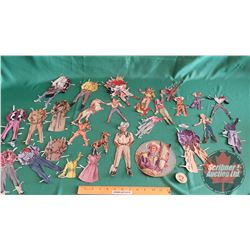 """ROY ROGERS & DALE EVANS PAPER DOLL CUTOUTS + ROY ROGERS Pin """"Post's Grape Nuts Flakes"""" c. 1953 (Plea"""
