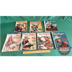 ROY ROGERS COMICS – DELL (7): Roy Rides a Hunch #76 c.1954;  The Thundering Flood #75 c.1954; The Bi