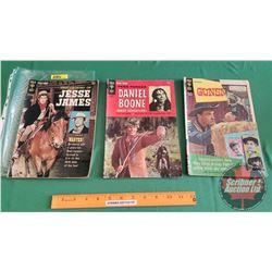 "WESTERN COMICS – GOLD KEY (3) : Jesse James ""The Fat Judas"" #1 c.1965 ; Daniel Boone ""The Birdman"" #"