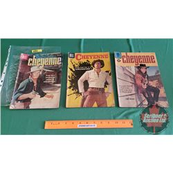 CHEYENNE – DELL COMICS (3): The Seven Gold Horses #12 c.1959 ; Crossfire #6 c.1957 ; the False Witne