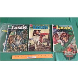 MGM's LASSIE – DELL COMICS (3): Return of the Jungle God #35 c.1957; and the Black Jaguar #19 c.1954