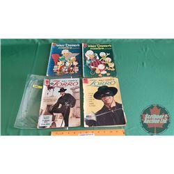 """WALT DISNEY'S – DELL COMICS (4): Zorro """"The Monterey Bravo"""" #14 c.1961; Zorro """"A Stroke of Luck"""" #11"""