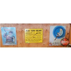 """Repro / Man Cave Signs Single Sided Tin (Embossed) (3): """"Sanborn's Kidney Remedy"""" (11"""" x 14"""") & """"No-"""