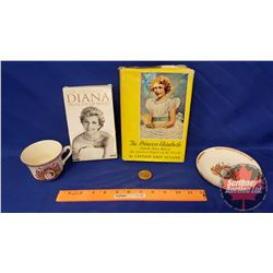 """Royalty/Monarchy Collectibles: 1939 Pin """"Long Live the King"""", QEII Coronation Cup & Saucer, Princess"""