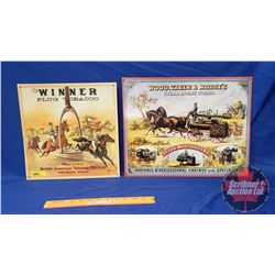 """Repro / Man Cave Signs Single Sided Tin (Embossed) (2): """"Wood, Taber & Morse's Steam Engine"""" (13"""" x"""