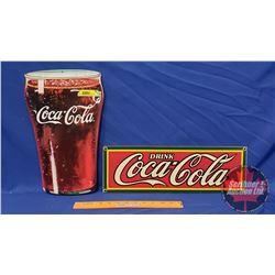 """Repro Coca-Cola Signs (2): Drink Coca-Cola Enamel Single Sided (5-3/4"""" x 17-3/4"""") & Coca-Cola Founta"""