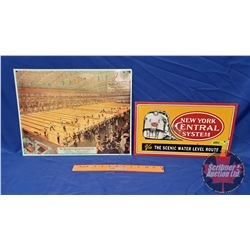 """Repro / Man Cave Signs Single Sided Tin (Embossed) (2): """"New York Central System"""" (8"""" x 14"""") & """"The"""